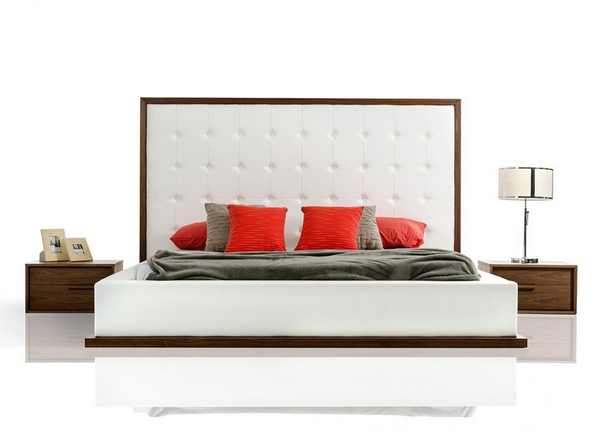 Roma Walnut Contemporary Bed: Modrest Beth Modern Walnut With White Leatherette Bed