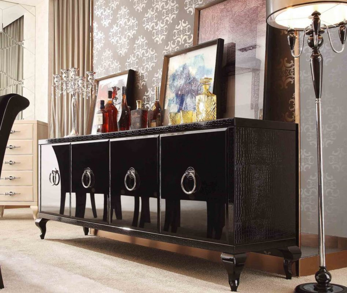 A x bellagio transitional black crocodile lacquer buffet for Modern dining room buffets