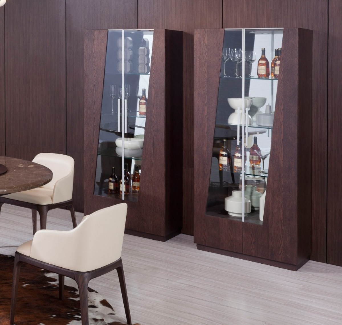 Modrest Prizma Modern Wenge And Glass Dining Display