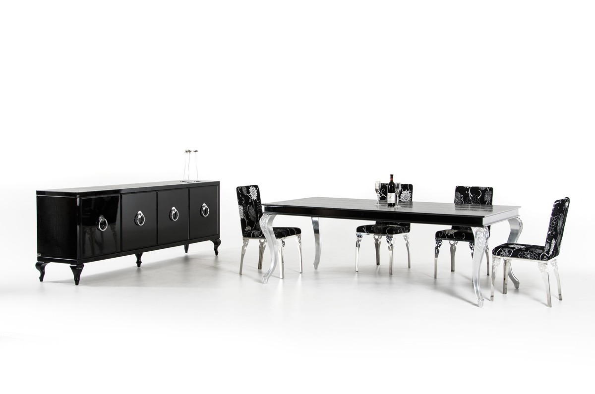 A Amp X Ampir Transitional Black Crocodile Dining Table W