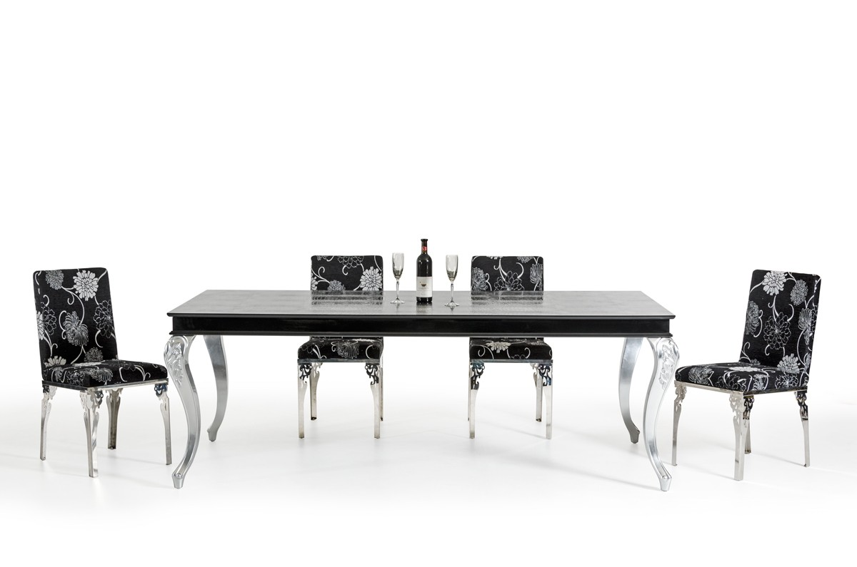 Awesome black and silver dining room set contemporary - Black and silver dining room set designs ...