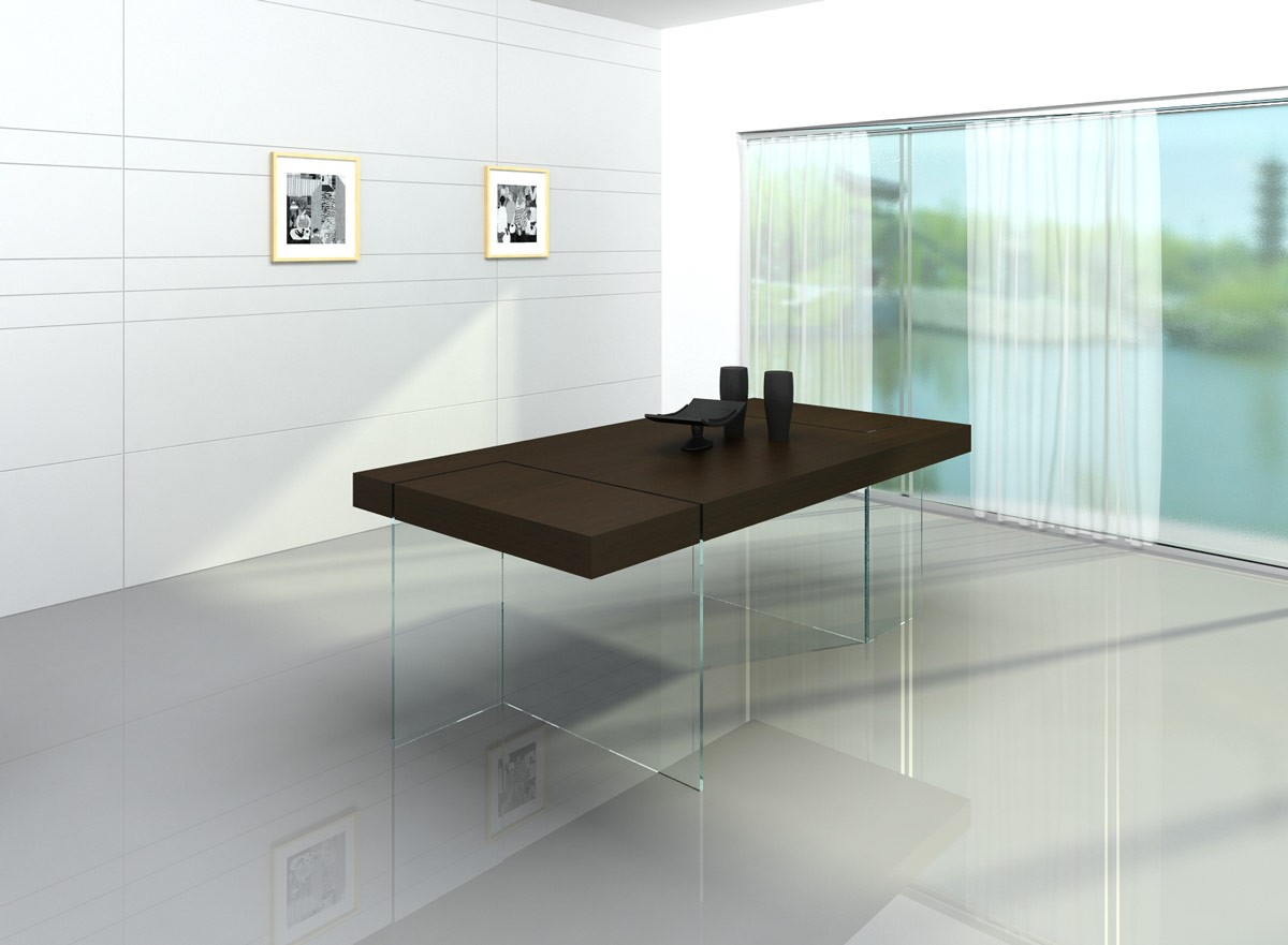 Modrest Aura Modern Floating Dining Table Room Clearance Specials