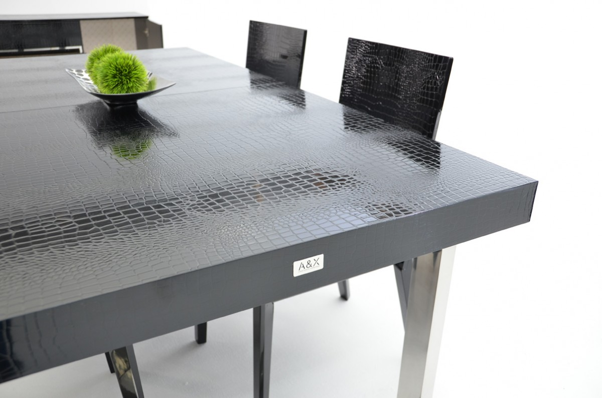 A Amp X Skyline Modern Black Crocodile Lacquer Extendable Dining Table
