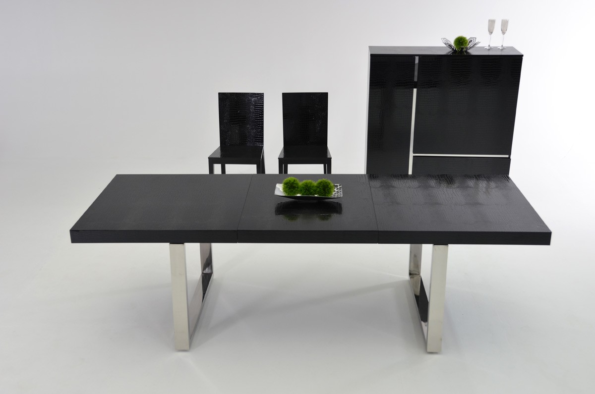 A Amp X Skyline Modern Black Crocodile Lacquer Extendable Dining Table Modern Dining