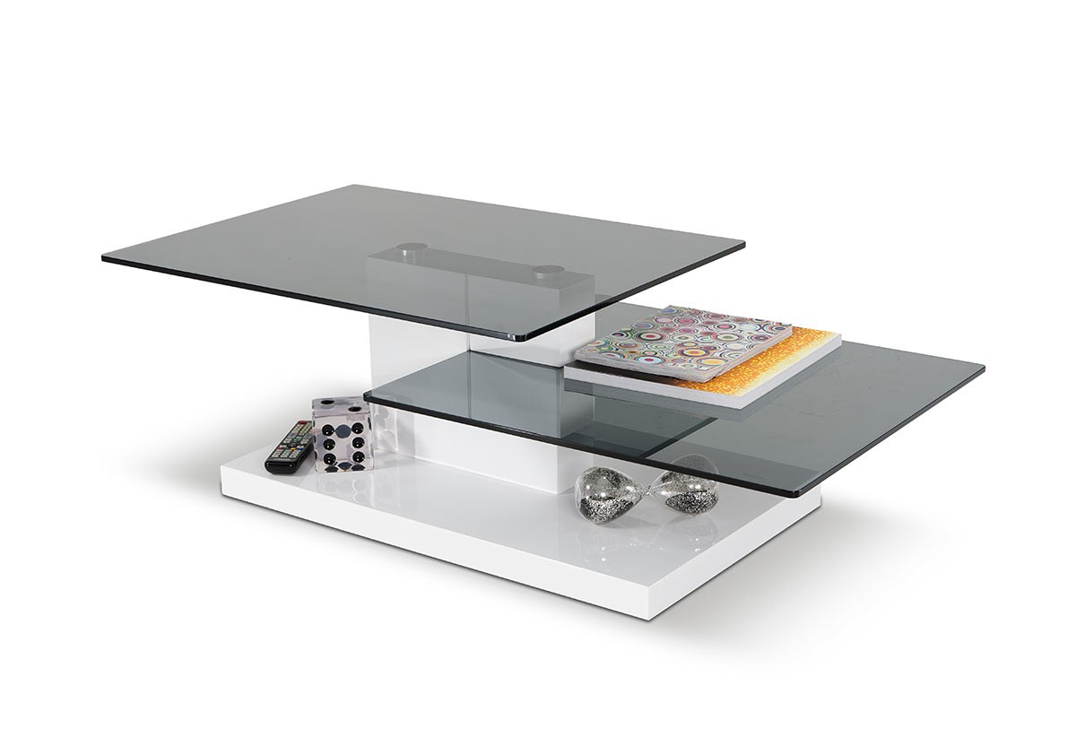 Modrest Dove Contemporary White High Gloss Coffee Table