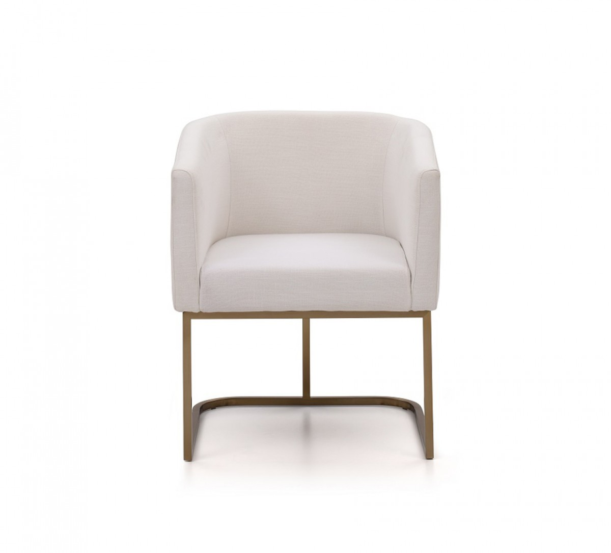 Modern Dining Chairs Cheap: Modrest Yukon Modern White Fabric And Antique Brass Dining