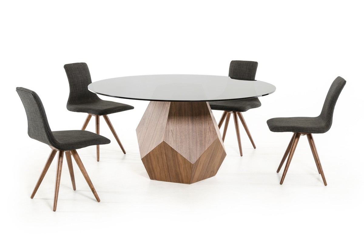 Modrest rackham modern walnut round dining table for Modern round dining table and chairs