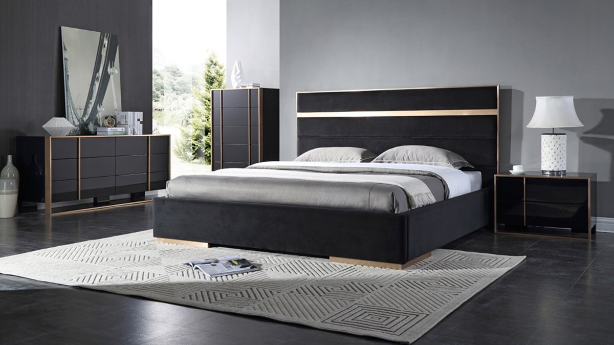 Nova Domus Cartier Modern Black Velvet Amp Brushed Bronze Bed