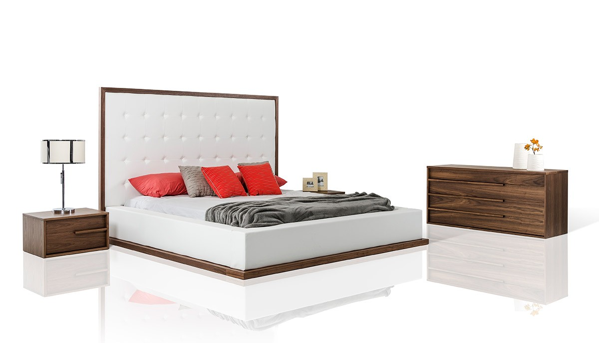 Modrest beth modern walnut with white leatherette bedroom for White contemporary bedroom furniture