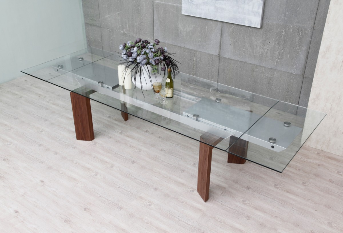 Modrest bijou contemporary extendable walnut glass for Extendable glass dining table