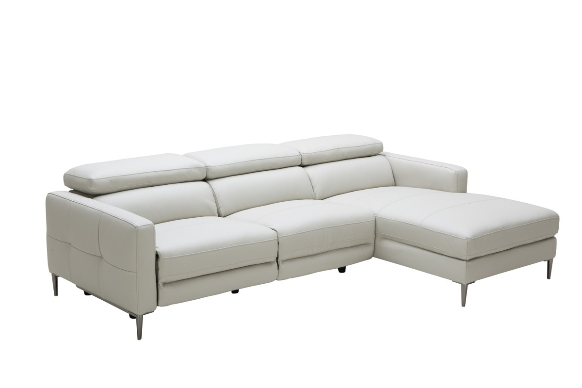 divani casa booth modern light grey leather sectional sofa w electric recliner