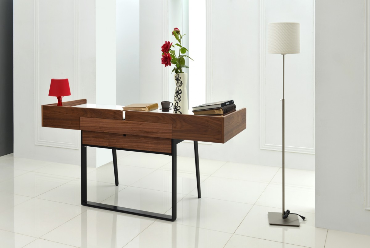 Nova Domus Branton Contemporary White Amp Walnut Office Desk