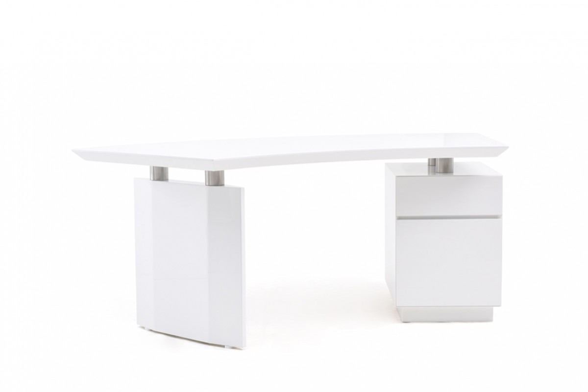 Modern Office Desk: Modrest Stanford Modern White Office Desk
