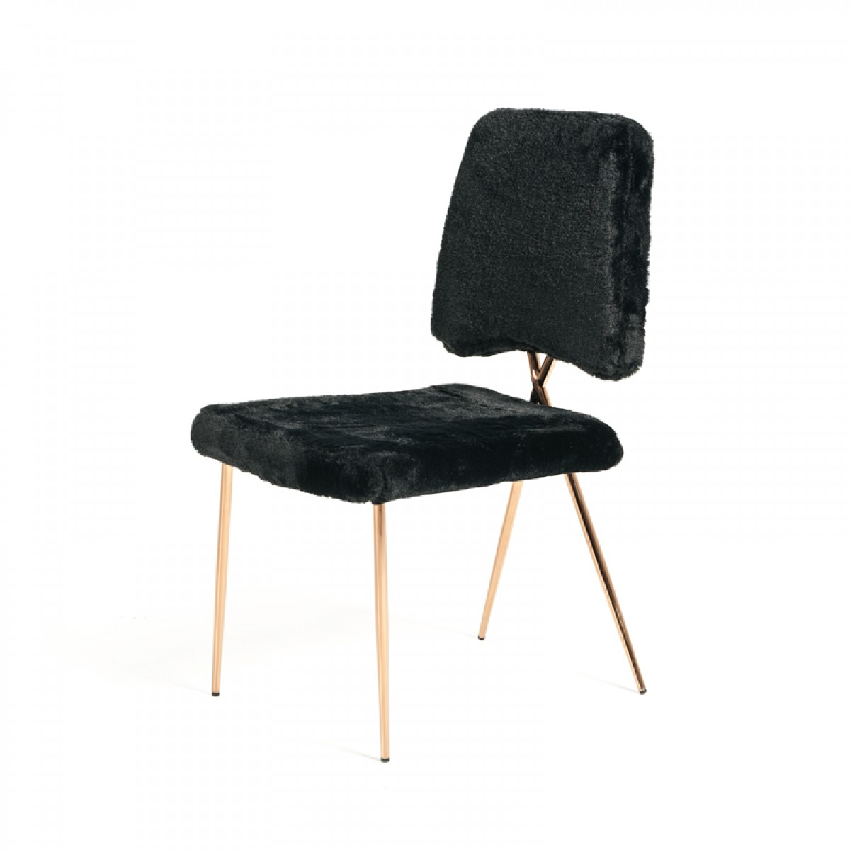 Candace Modern Black Faux Fur Dining Chair Set Of 2