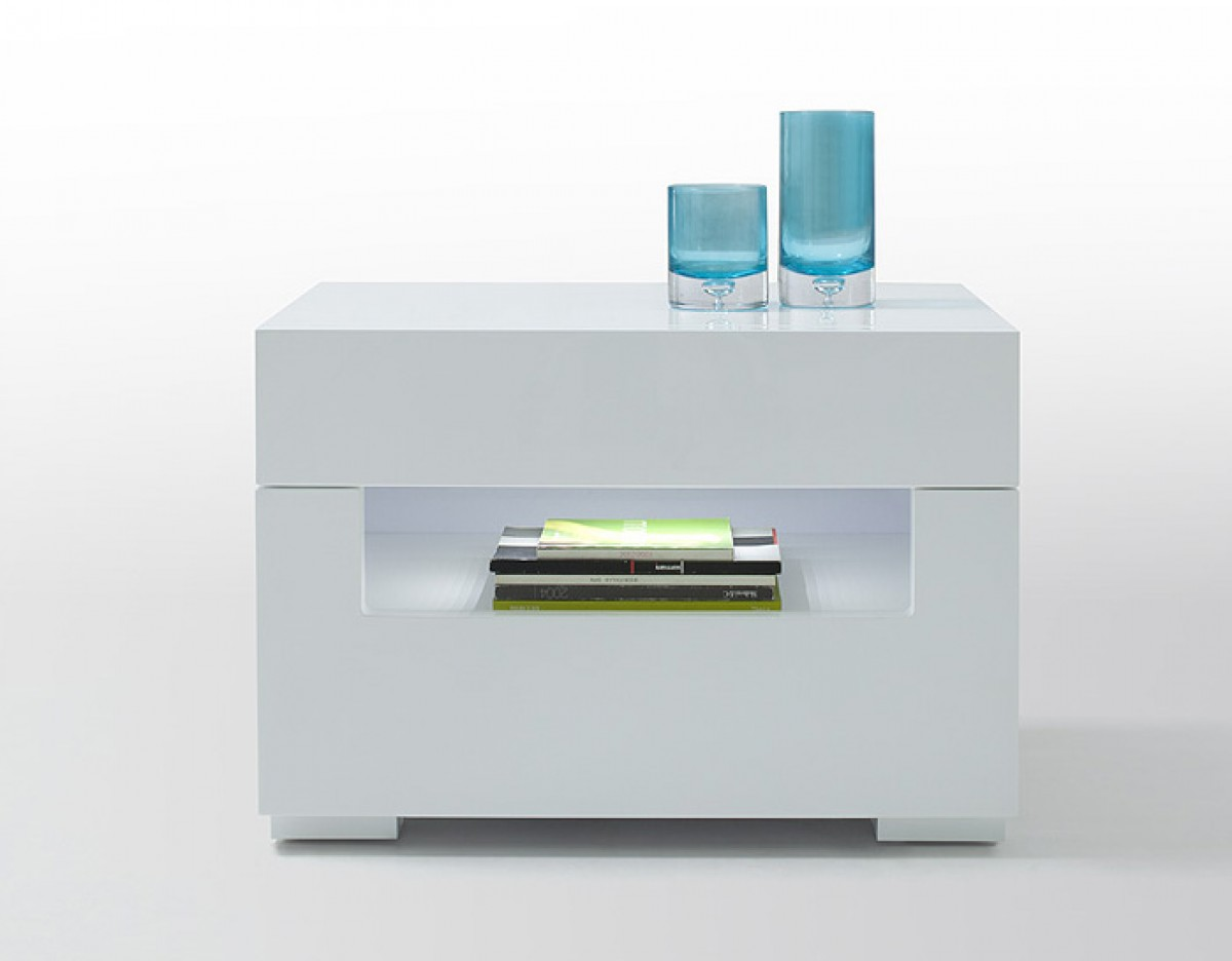 ... Collections Gaudi Modrest Ceres - Modern LED White Lacquer Nightstand