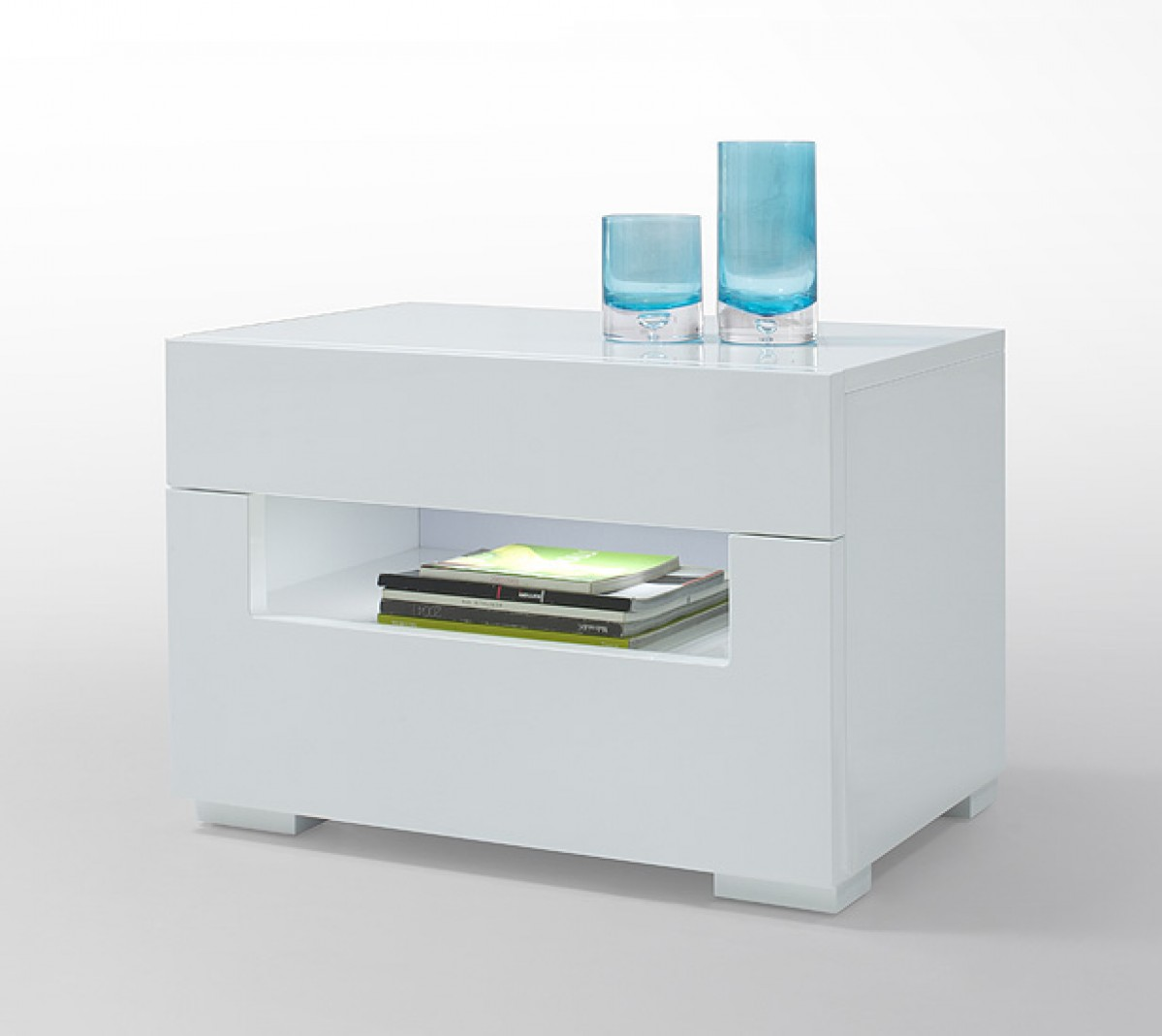 modrest ceres  modern led white lacquer nightstand -