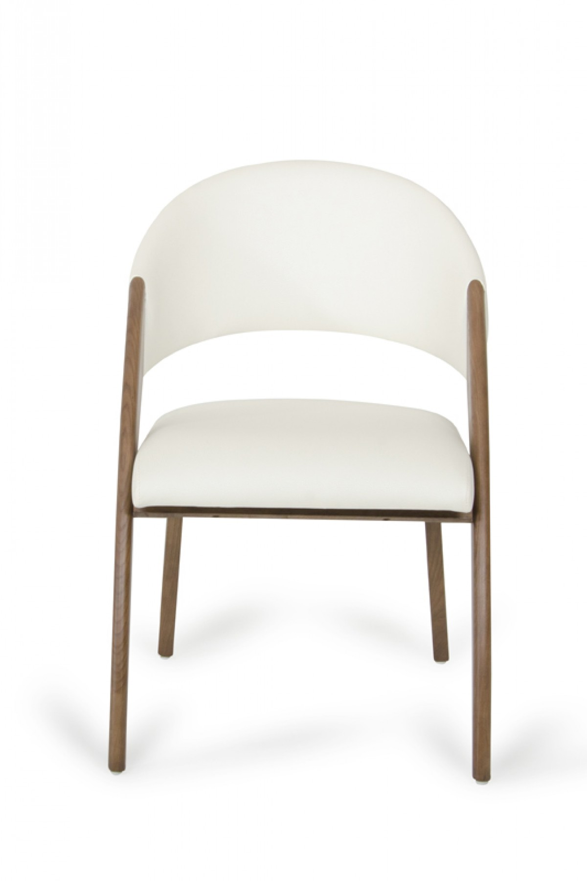 Modrest lucas modern cream walnut dining chair for Walnut dining chairs modern