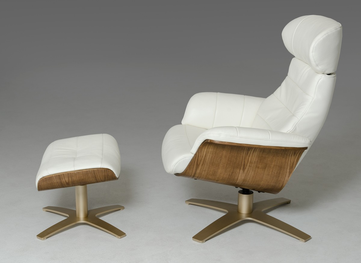 & Divani Casa Charles Modern White Leather Reclining Chair w/ Ottoman islam-shia.org