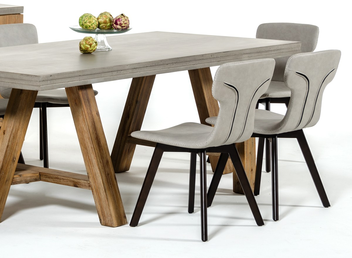 home modrest civic modern concrete acacia dining table