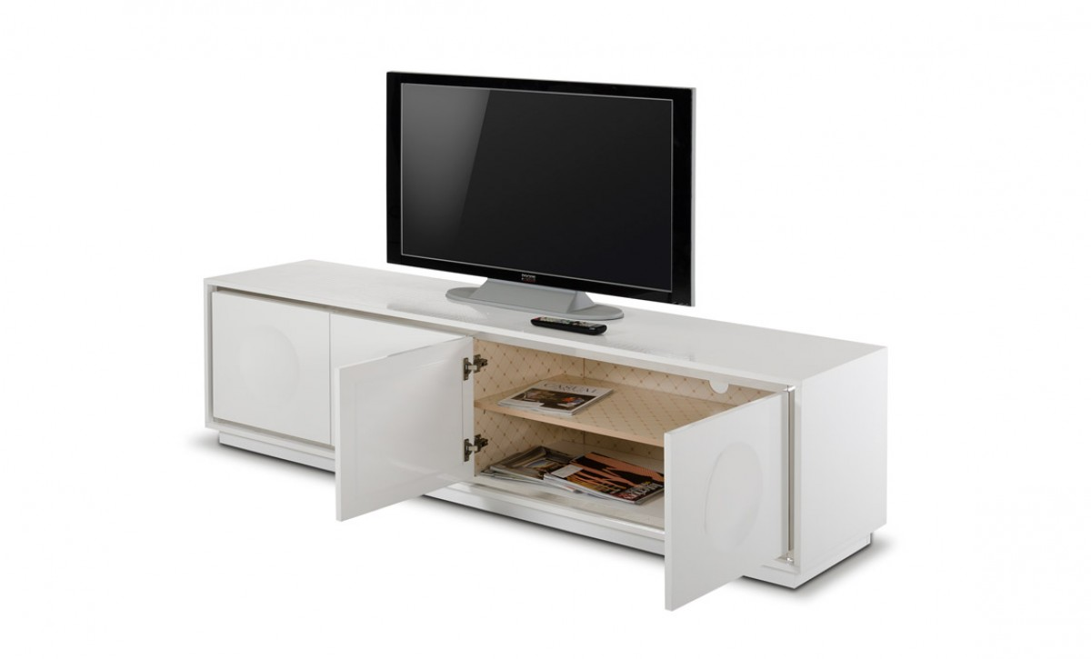 A x grand modern white crocodile lacquer tv stand White tv console