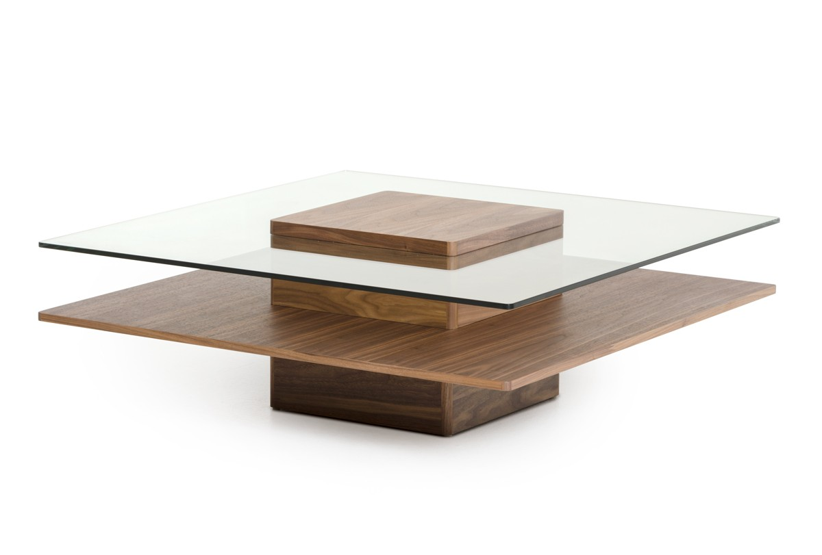 Modrest clarion modern walnut and glass coffee table coffee tables living room Glass contemporary coffee table