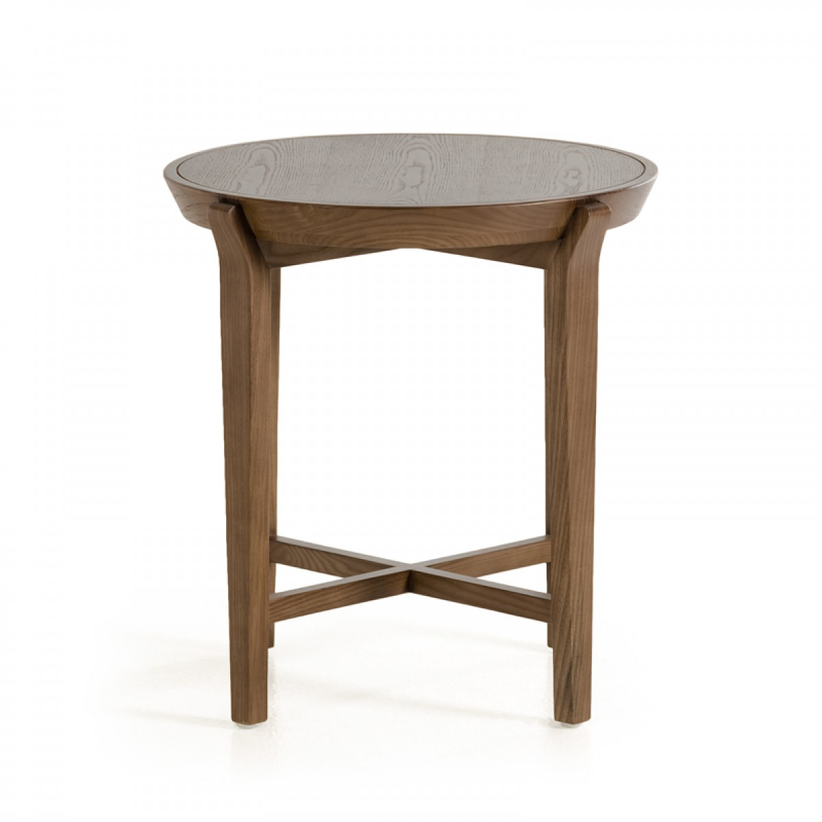 Modrest olenna modern walnut side table end tables living room for Contemporary tables for living room