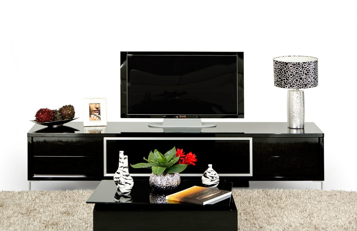 Modrest brighton mini black entertainment center for Living room entertainment centers