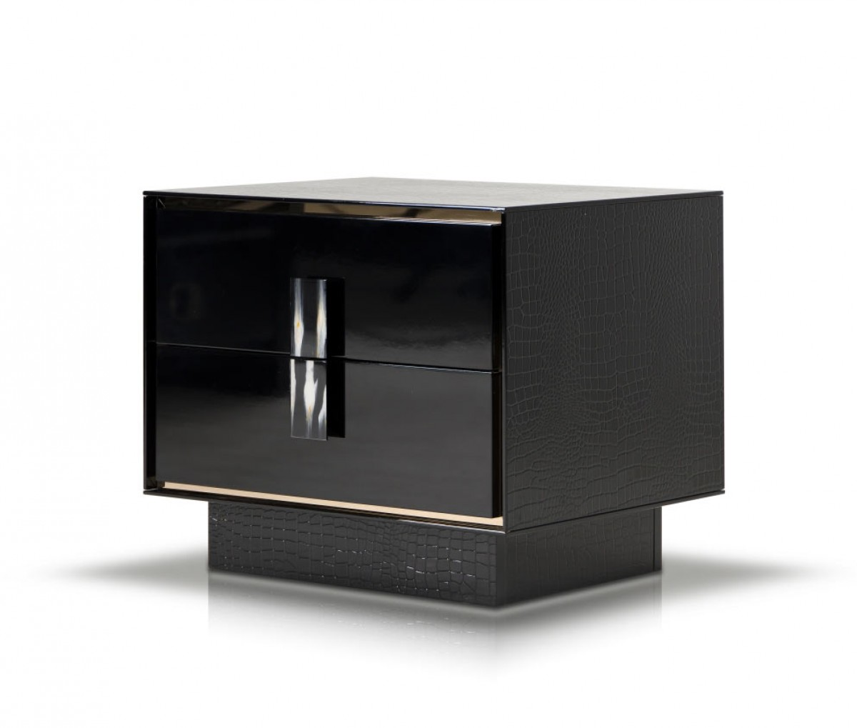 A Amp X Bellagio Modern Black Crocodile Lacquer Nightstand