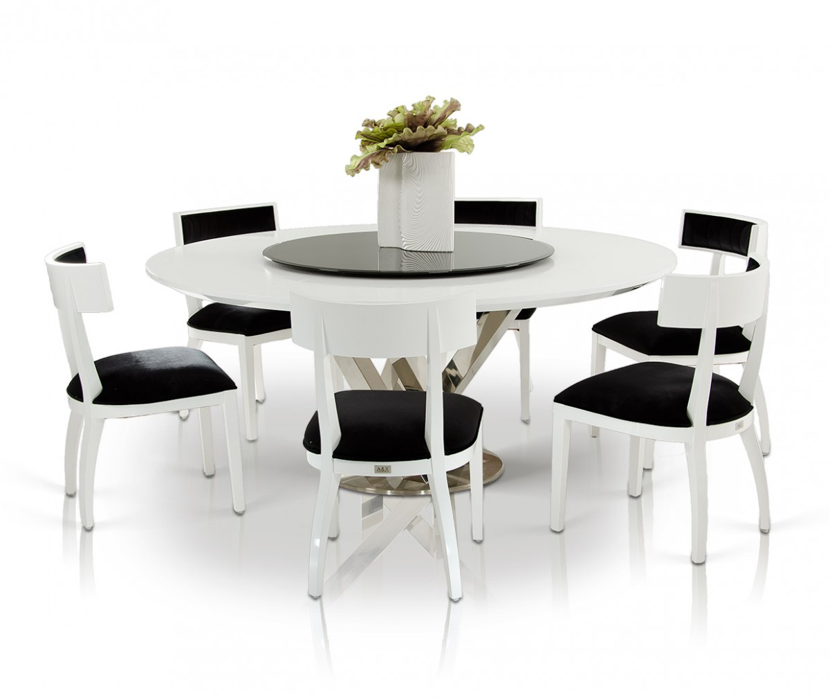 A&X Spiral Modern Round White Dining Table with Lazy Susan