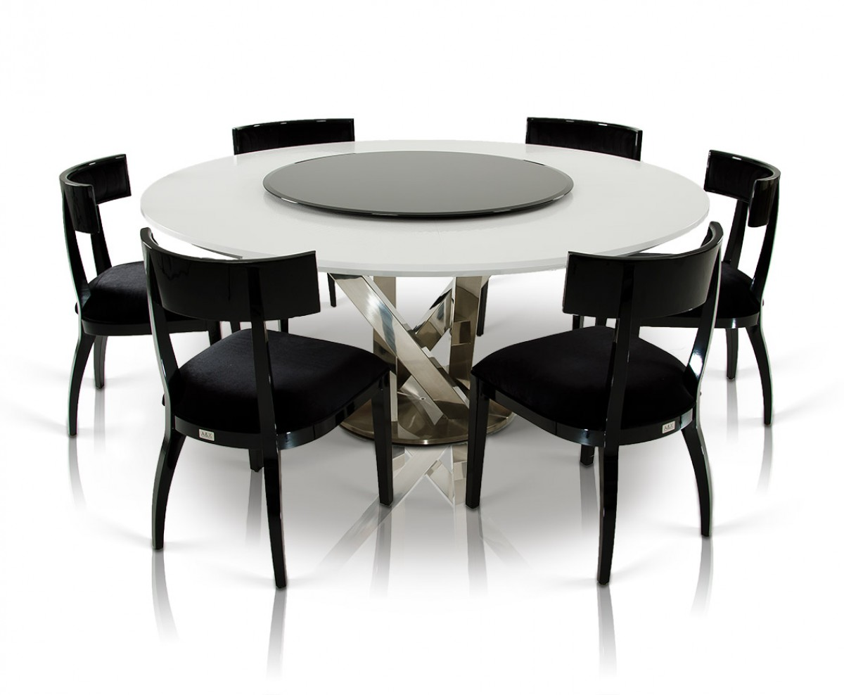 A X Spiral Modern Round White Dining Table With Lazy