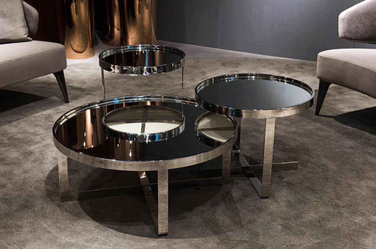 mirrored coffee table sets drawers modrest wilcox contemporary mirrored coffee table set