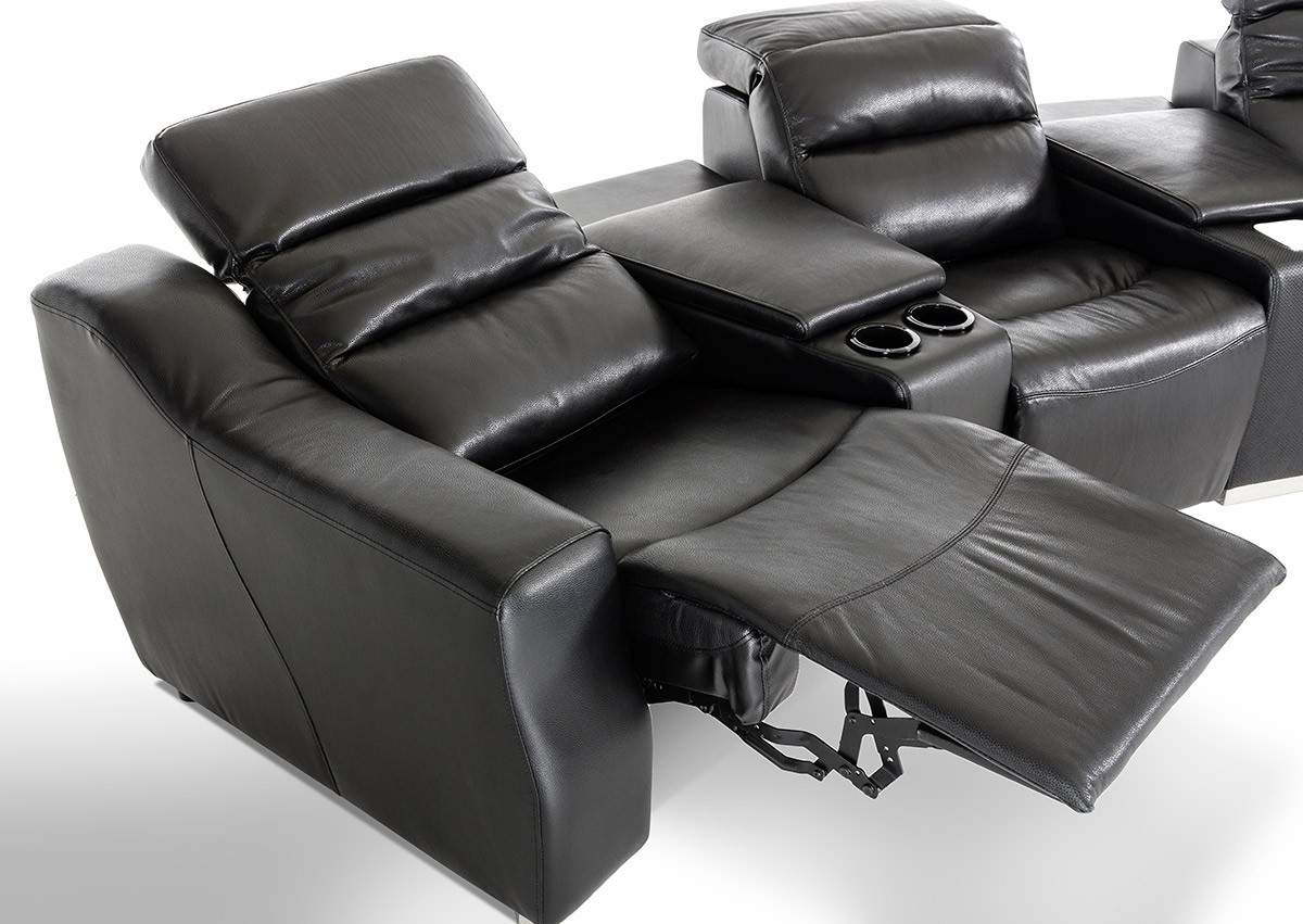 divani casa salem modern black ecoleather recliner sectional sofa with audio system reclining sofas recliners living room