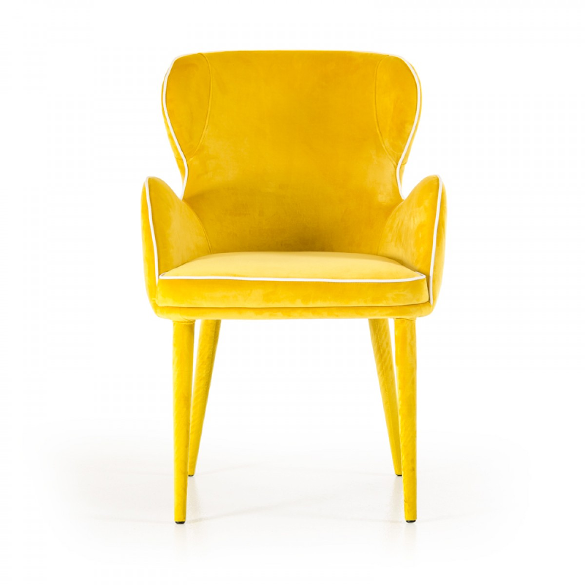 Modrest tigard modern yellow fabric dining chair dining for Modern yellow dining chairs