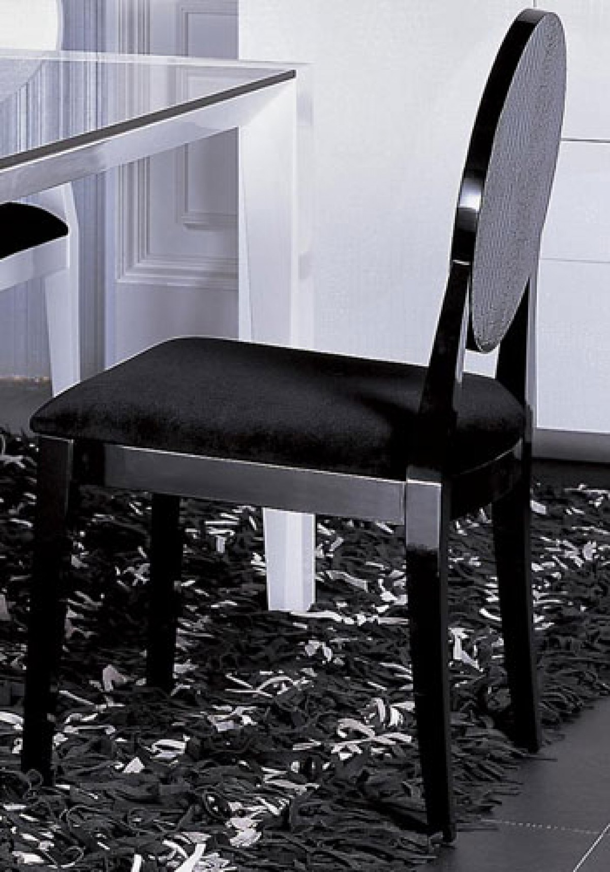 Aa018 Modern White Black Lacquer Chair
