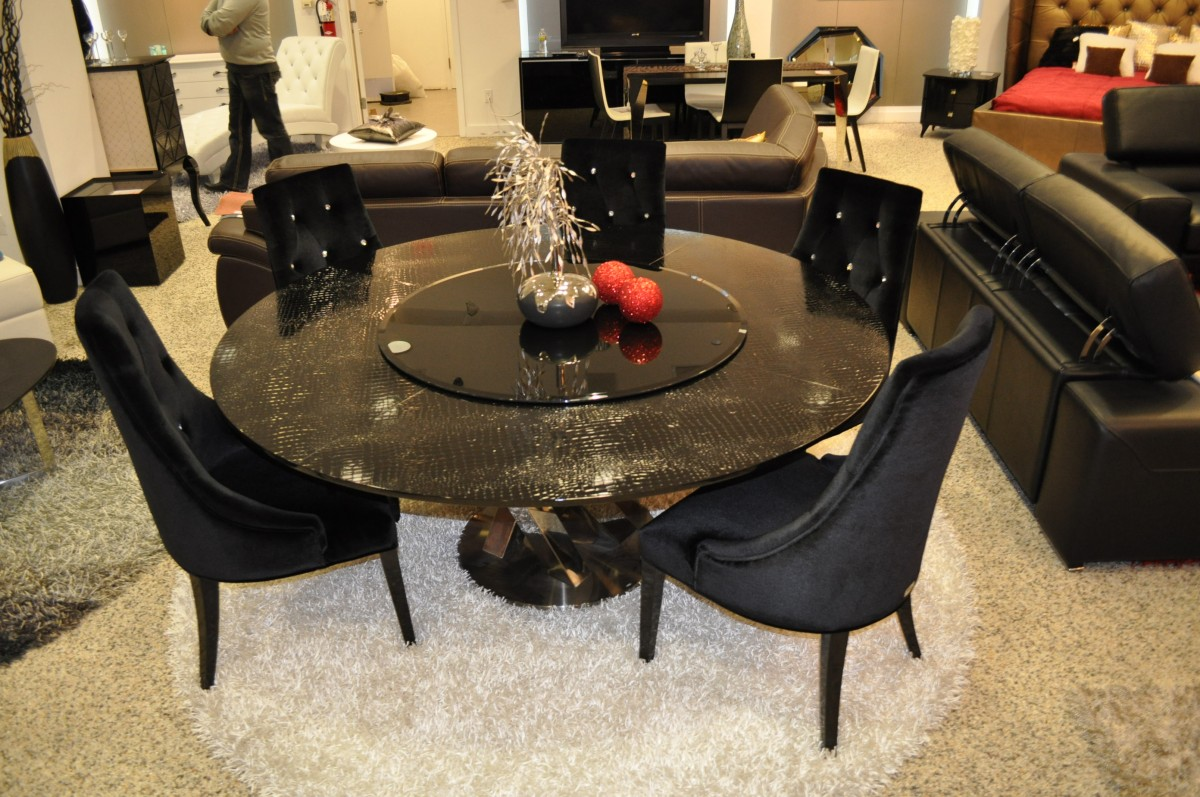 A Amp X Spiral Round Black Crocodile Lacquer Table W Lazy
