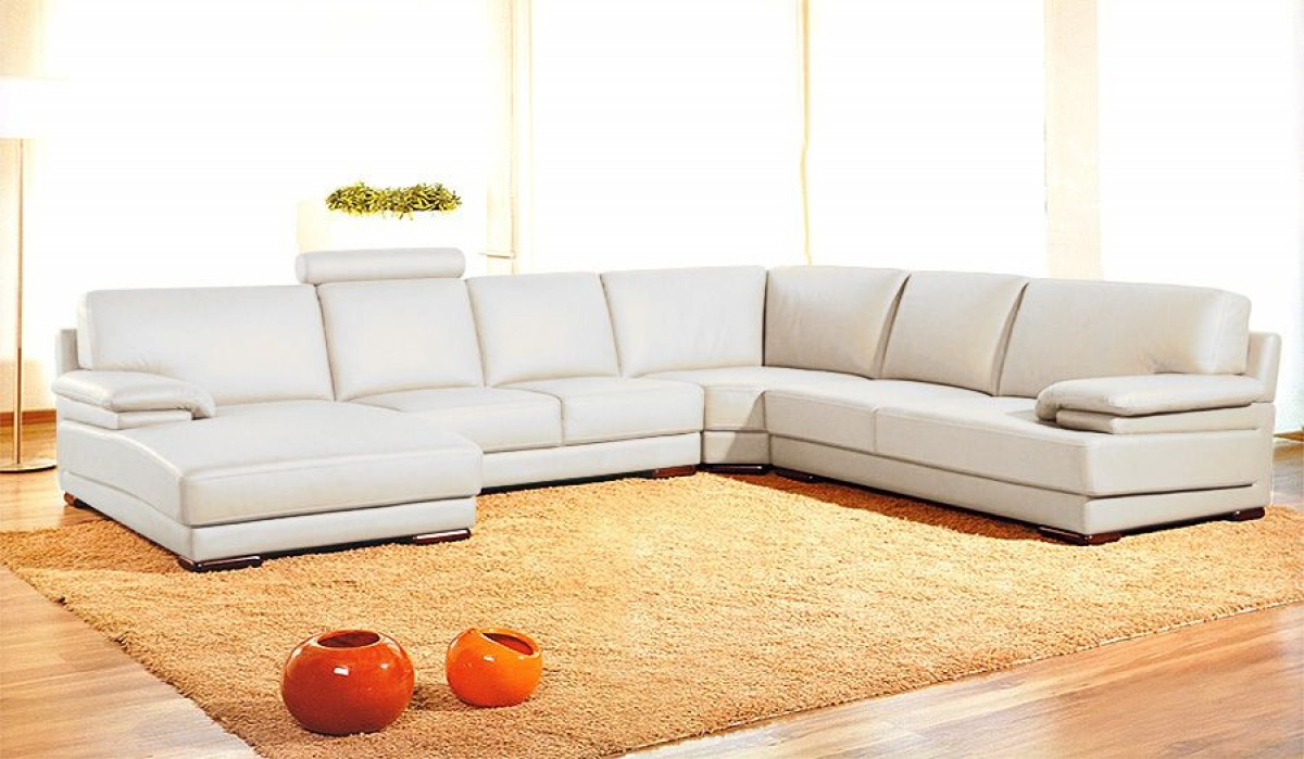Divani casa 2227 modern leather sectional sofa divani casa collections Contemporary leather sofa