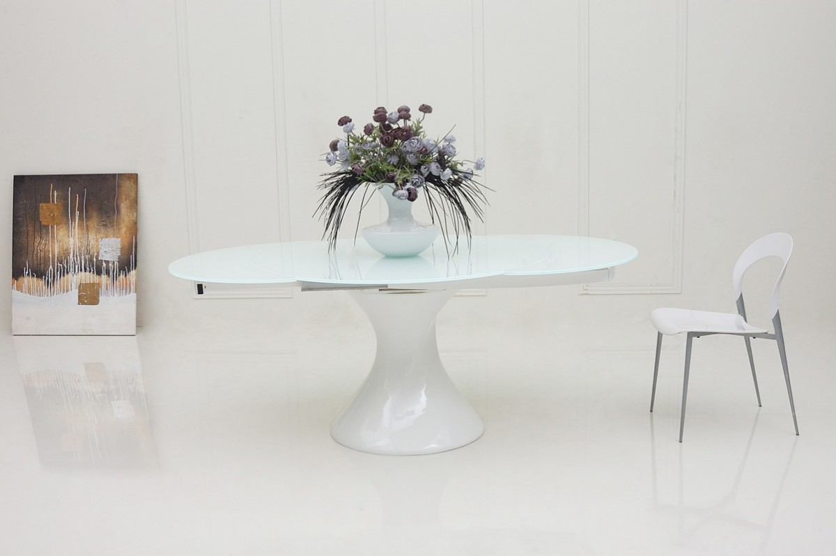 White lacquer dining table round - Modrest Savor Modern Round White Lacquer Dining Table