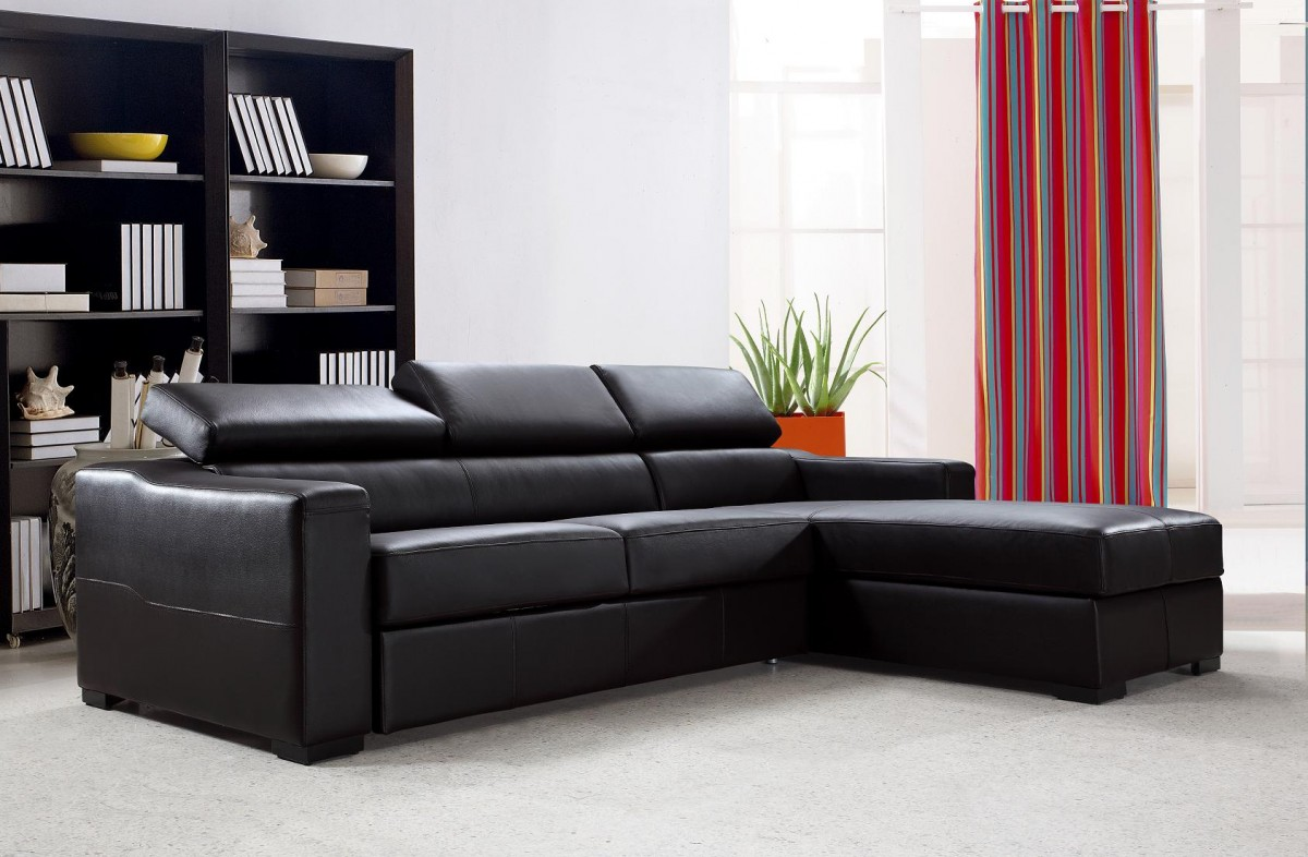 Divani Casa Flip - Reversible Espresso Leather Sectional ...