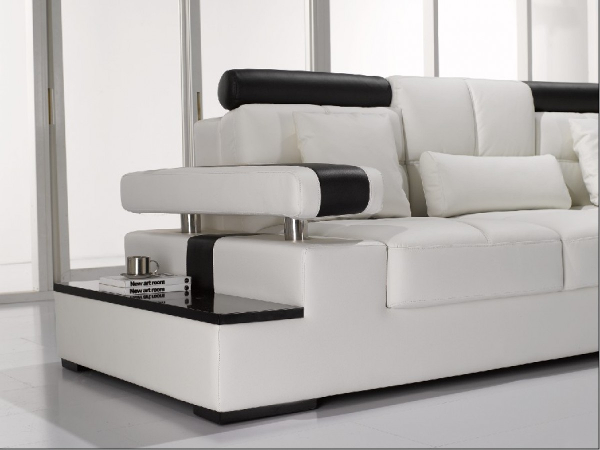 Modern white leather sectional sofa for 9 seater sofa set designs