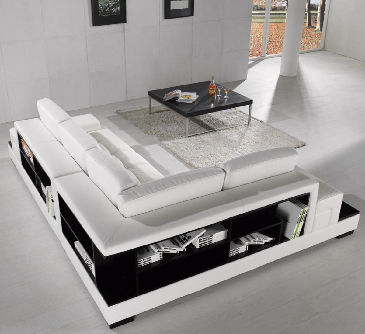 T Modern Leather Sectional - Sectional with built in table