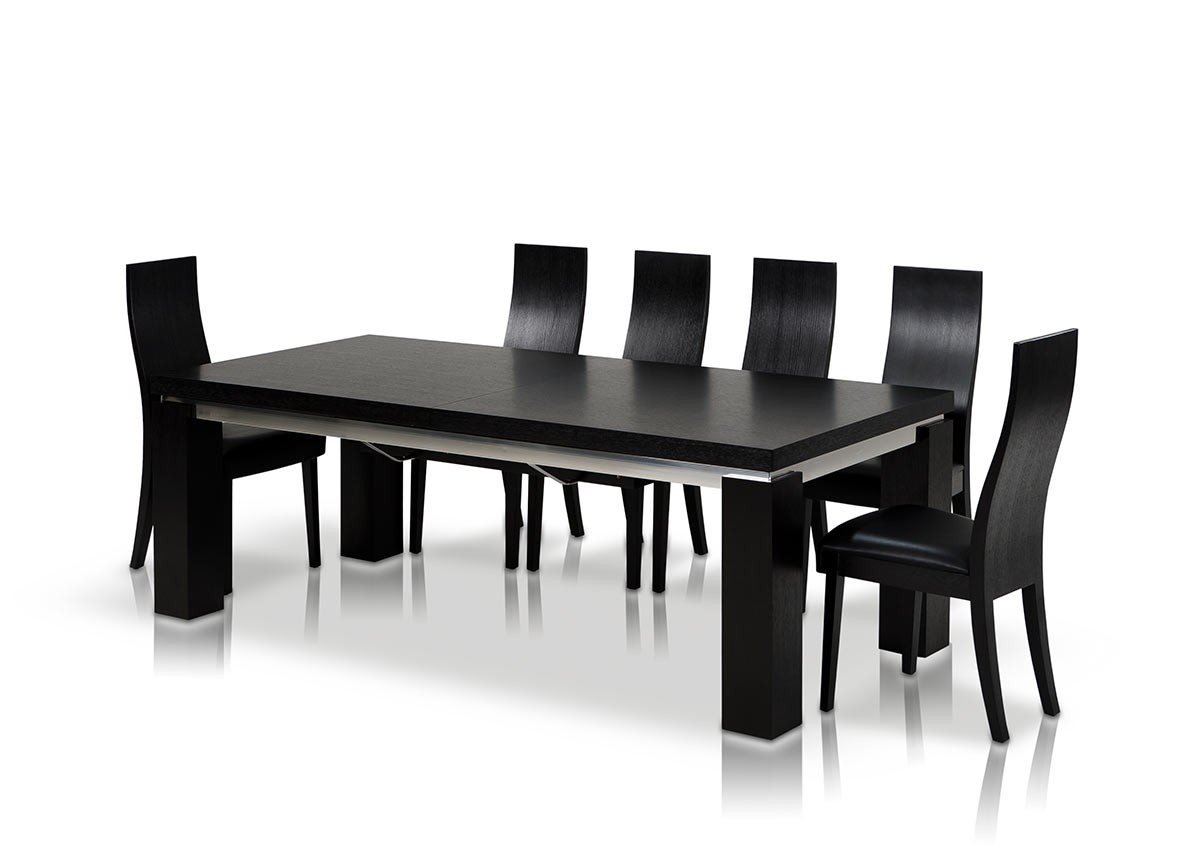 Modrest maxi modern black oak dining table for Modern black dining table