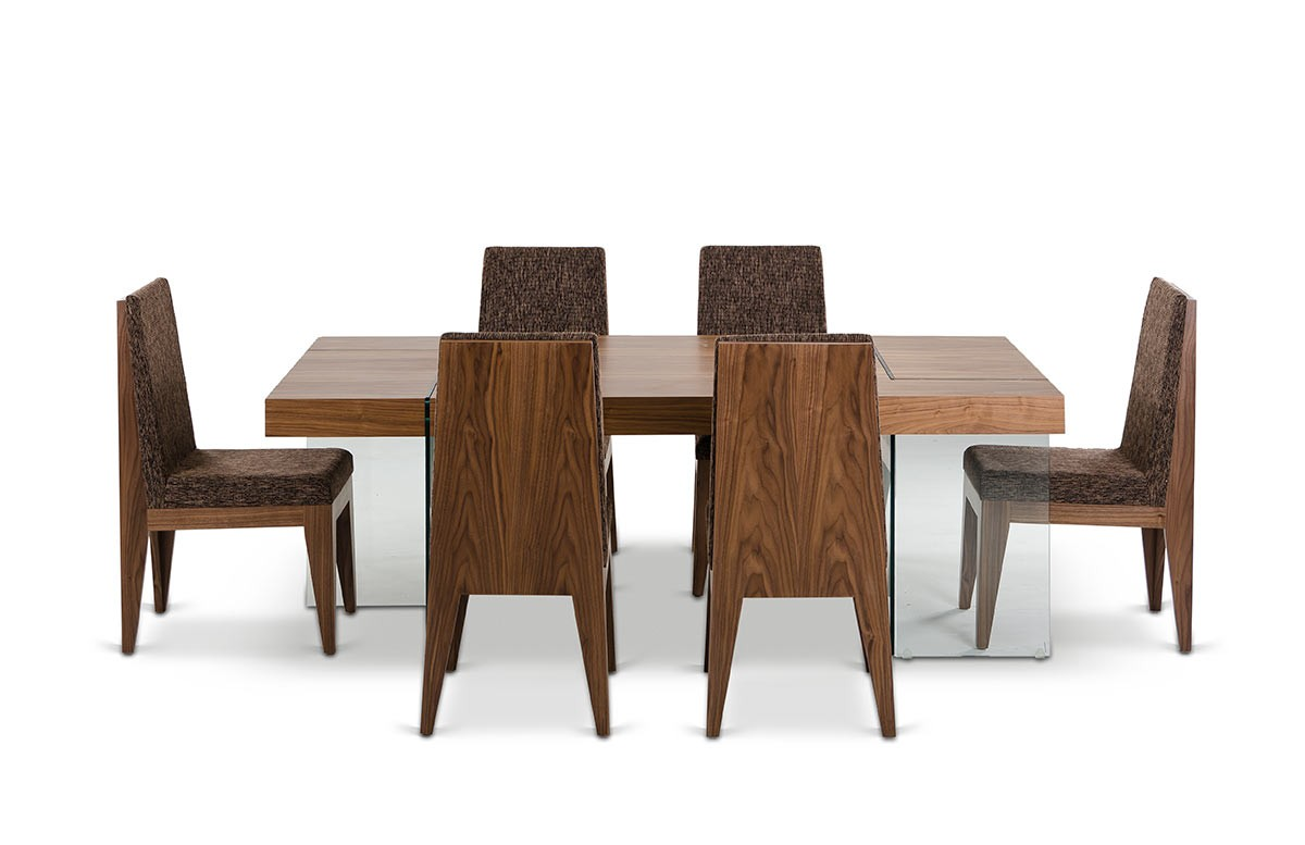 Aura contemporary walnut floating dining table for Walnut dining chairs modern