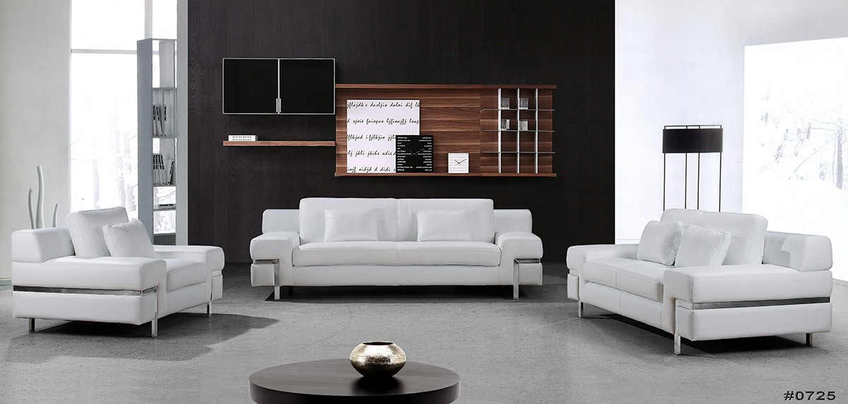 Divani Casa Clef Modern White Leather Sofa Set Special Order Cat B