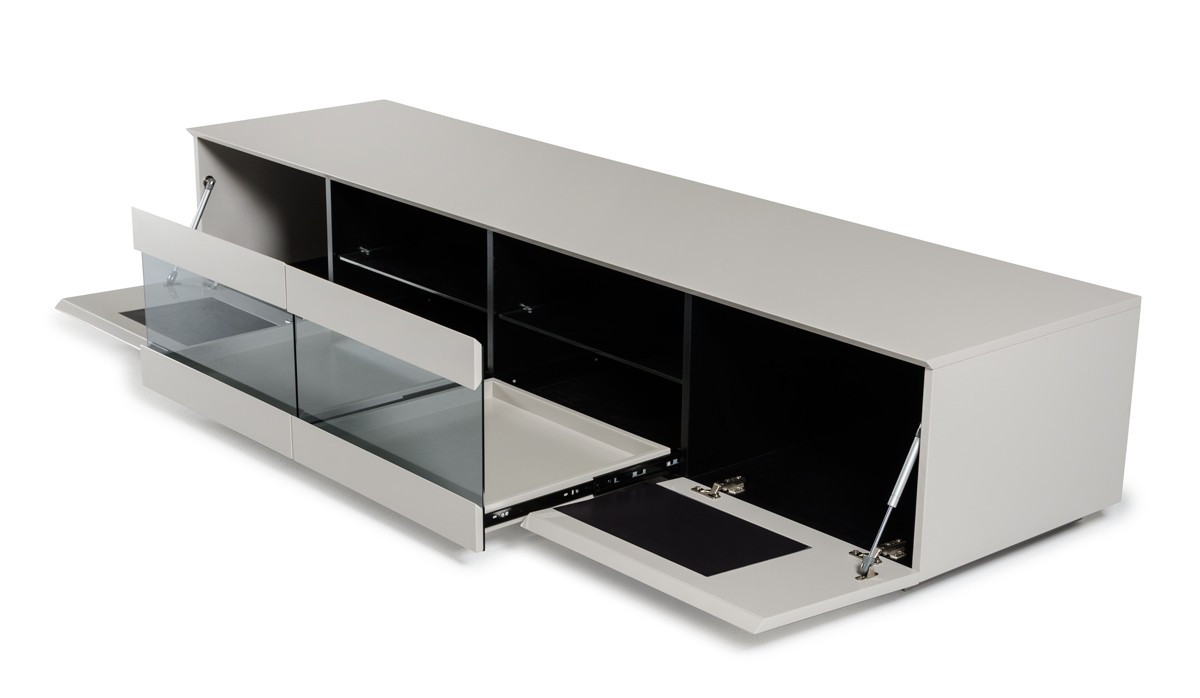 Modrest frost modern glossy grey tv unit entertainment for White plasma tv stands