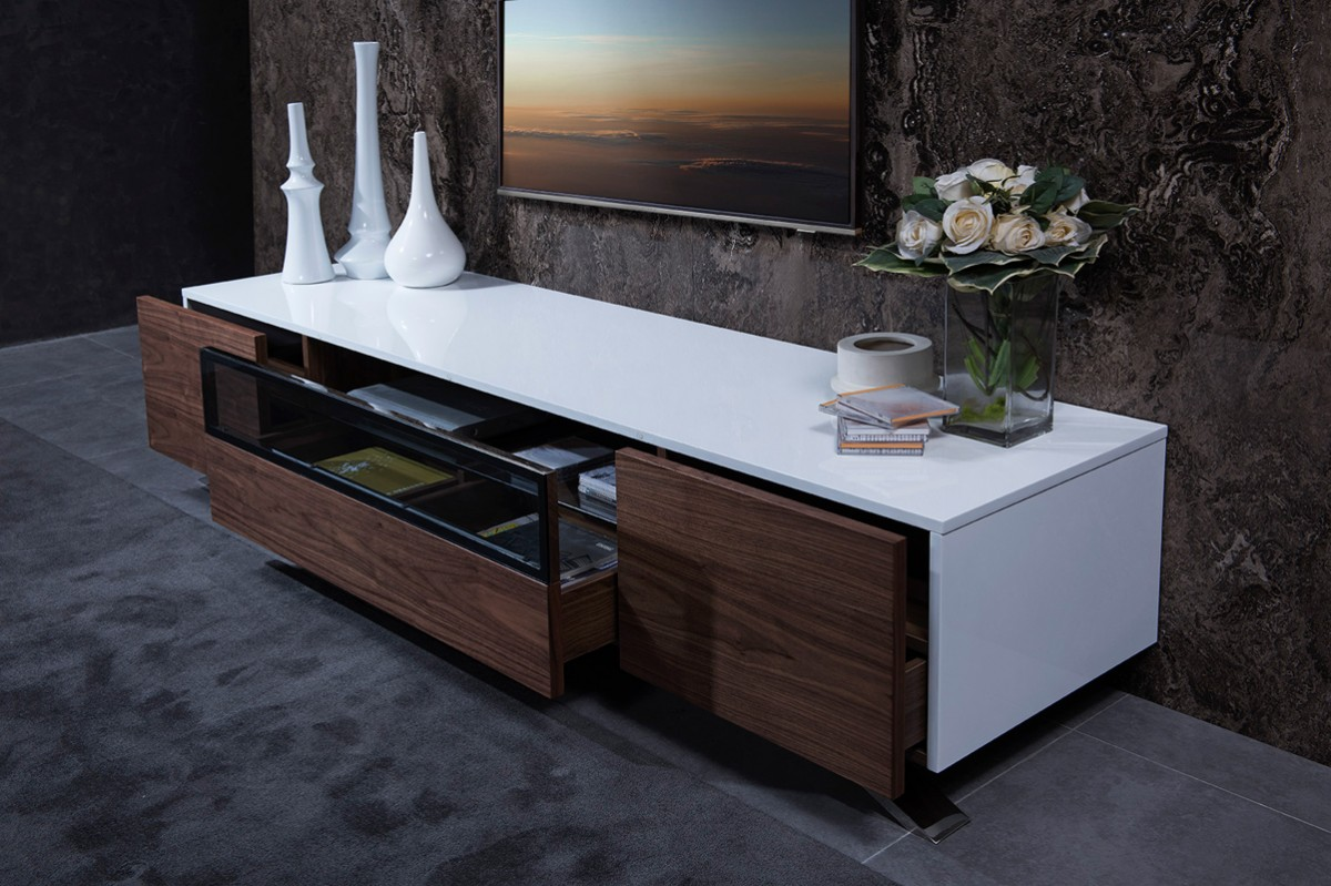 Modrest Gillian Contemporary White Walnut Tv Stand