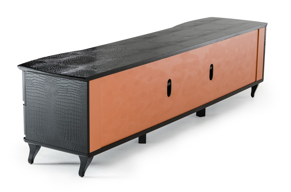 A x gothic transitional black crocodile lacquer tv cabinet for Center mobili outlet