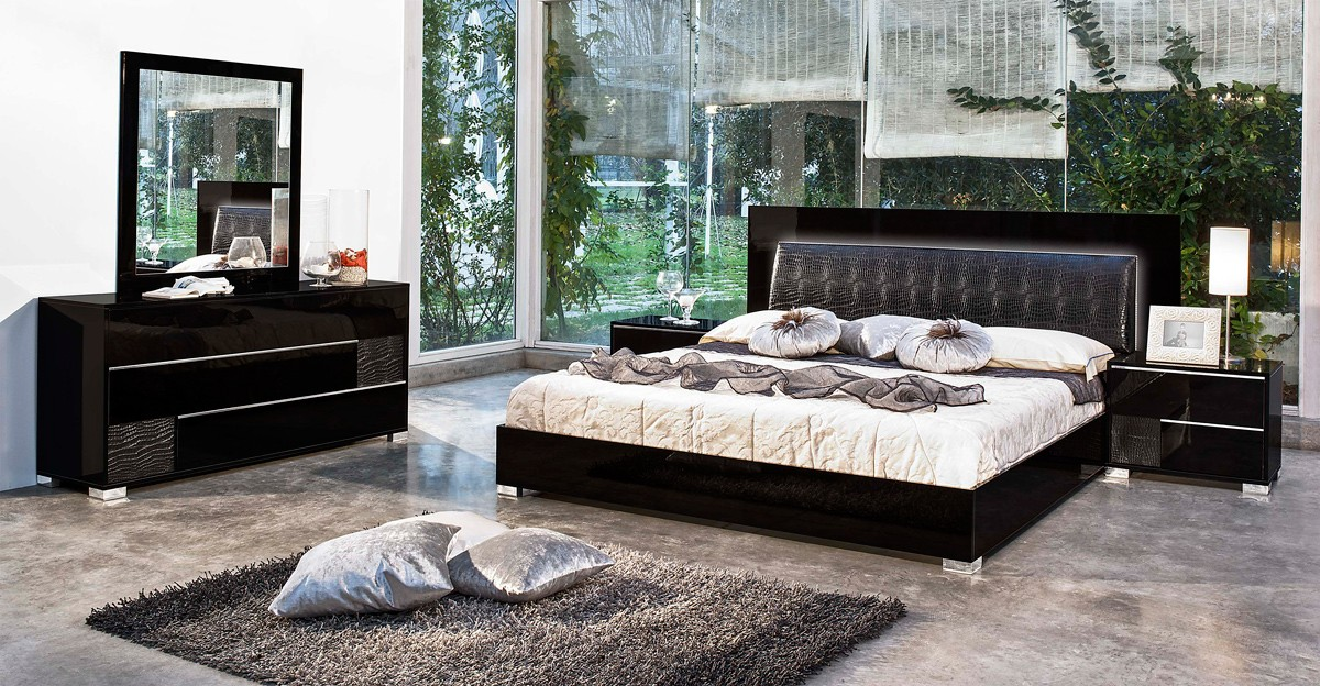 modrest grace italian modern black bedroom set 16329 | grace black web