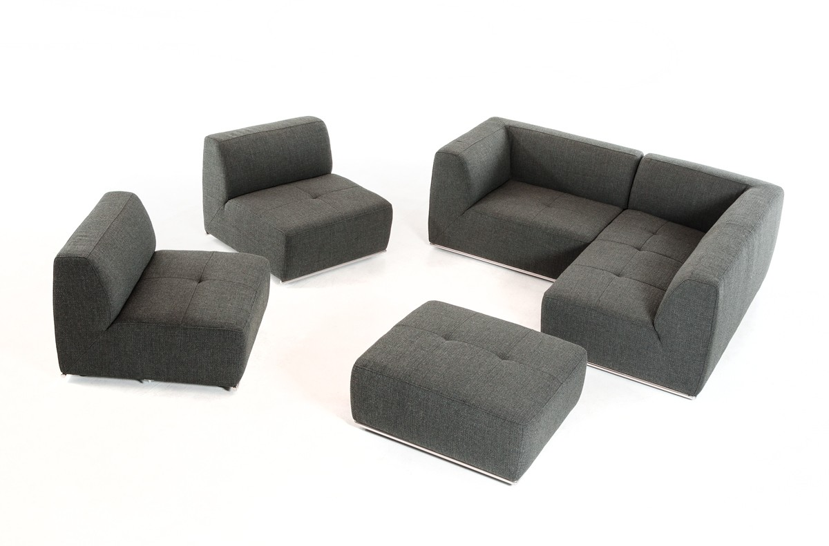 Enjoyable Divani Casa Hawthorn Modern Grey Fabric Sectional Sofa And Squirreltailoven Fun Painted Chair Ideas Images Squirreltailovenorg