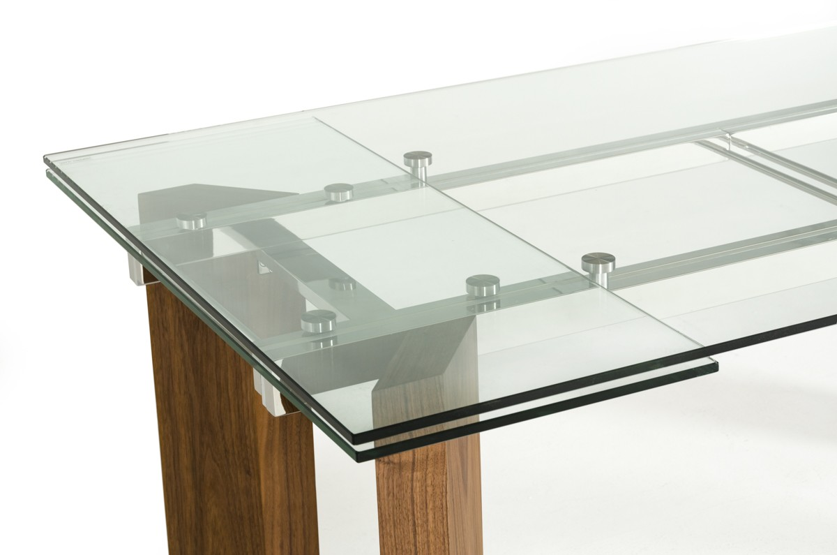 extendable glass dining table Modrest Helena Modern Extendable Glass Dining Table extendable glass dining table