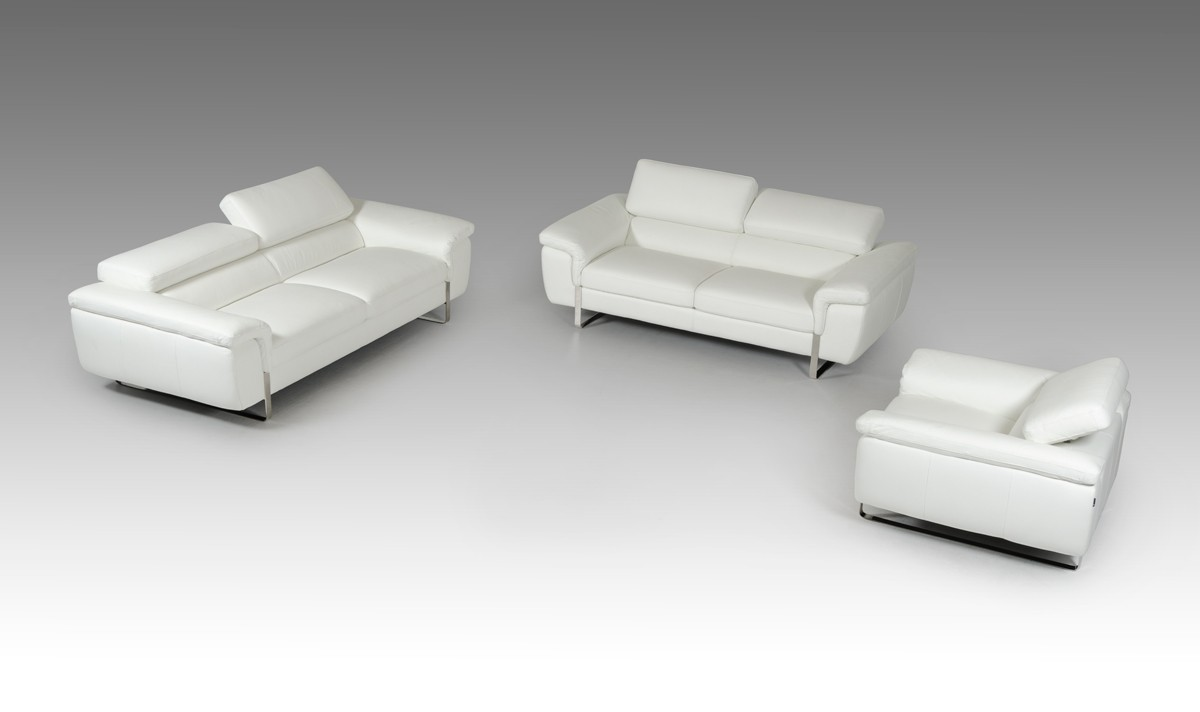 David Ferarri Highline Italian Modern White Top Grain Leather Sofa Set    David Ferrari Italian Sofas   Collections